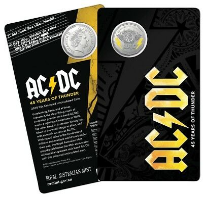 2018 AC/DC - 45 Year of Thunder 50c Coloured Uncirculated Coin Free REGD deliver