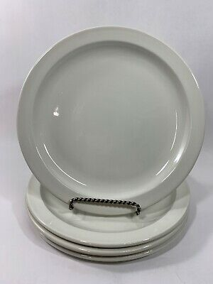 "Set Of 4 Stonehenge Midwinter White 10-3/8"" Dinner Plates-Made In England"