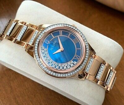 Bulova Women's TurnStyle 98L247 Watch Crystals Blue MOP Dial Rose Gold Tone WR30