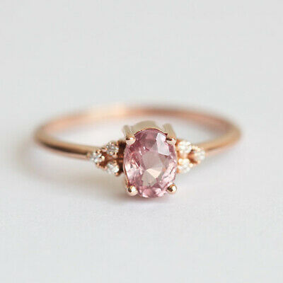 Pretty Women Rose Gold Filled Wedding Rings Oval Cut Pink Sapphire Size 6-10