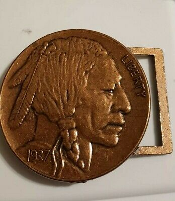 Indian Head Buffalo Nickle 1937 3 Inch Belt Buckle copper vintage Free shipping!