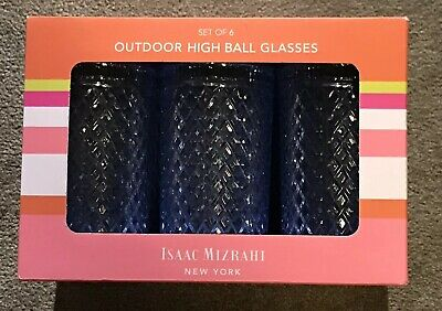 e0ce5bdfc4 Isaac Mizrahi New York NY Blue High Ball Outdoor Glasses Set Of 6 NIB!  Diamonds