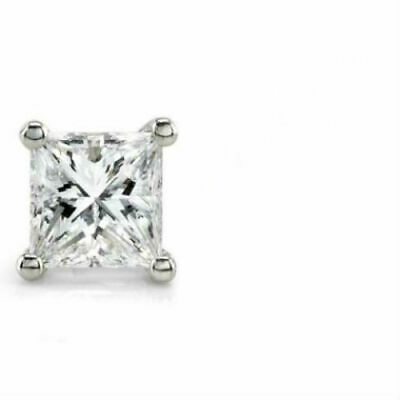 One Earring 0.5 Ct Princess Square Diamond 14K White Gold Stud Post Screw Back