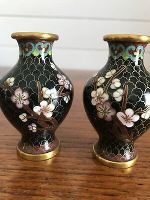 Stunning Pair Of Vintage Chinese Cloisonné Posy Vases Cherry Blossom