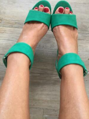 NEW WILDFIRE GREEN faux SUEDE HEELS 40 9 8.5 ANKLE STRAP cuff PARTY races SHOES