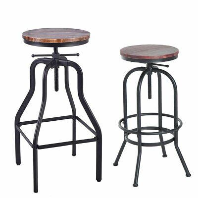 Vintage Bar Stool Metal Wooden Industrial Retro Seat Kitchen Pub Counter 2 SP