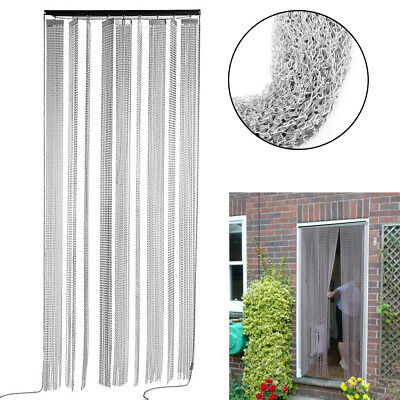 Aluminium Silver Chain Link Insect Fly Door Curtain Blinds Screen Pest Control