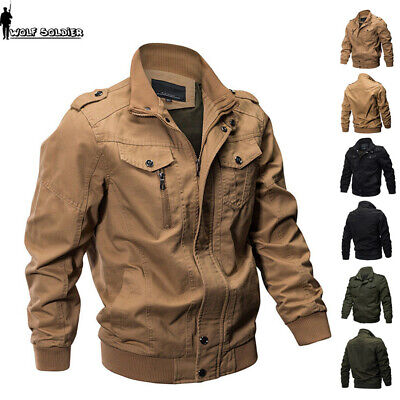 Mens MA-1 Pilot Bomber Jacket Coat Air Force Flight Military Army Jackets Casual