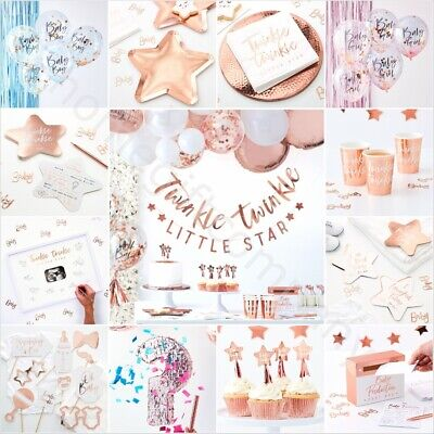 OH BABY Baby Shower Rose Gold Gender Reveal Party Decorations Tableware Favours