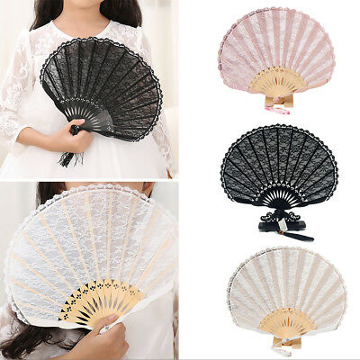 KD_ Summer Vintage Bamboo Folding Handheld Lace Decor Cool Dual Layers Fan Spl