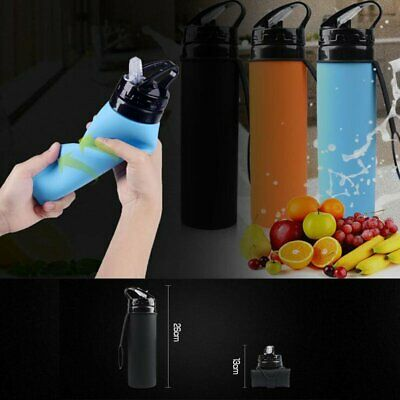 600ml Foldable Water Bottle Silicone Outdoor Travel Hiking Supplies Space-saving