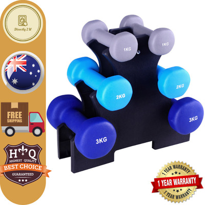 Everfit 6 Piece Dumbbell Weights Set (1kg, 2kg, 3kg) with Stand