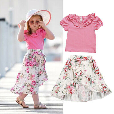 Toddler Kids Baby Girls Floral Top T-shirt Skirt Outfits Clothes Summer UK Stock