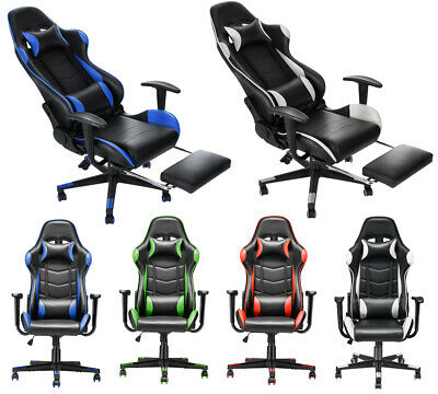 Office Sport Racing Chair Computer Game Seat Swivel High Back Footrest Adjust