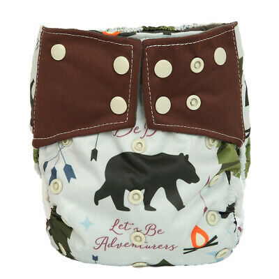 Baby Cloth Diaper Nappy Cover Bamboo Charcoal Reusable Gussets Bear Be Brave