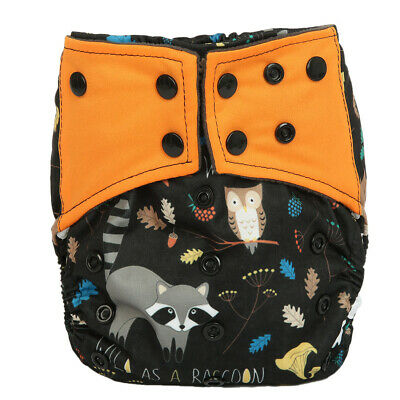 Baby Cloth Diaper Nappy Cover Bamboo Charcoal Reusable Gussets Raccoon Owl