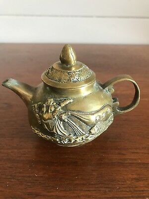 Vintage Chinese Cast Metal Bronze Teapot Carved Figures Buddha Stamped To Base
