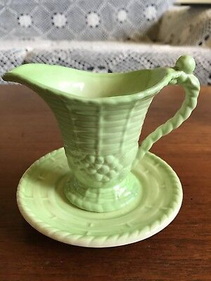 Vintage Green Carlton Ware Art Deco Basket Weave Jug And Saucer