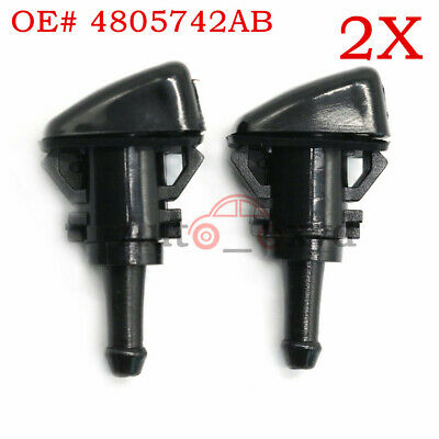 2x Windshield Washer Wiper Spray Fluid Nozzle For Chrysler Dodge Ram 4805742AB