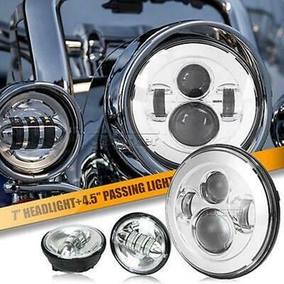 "7"" Chrome LED Projector Headlight + Passing Fog Light For Harley Electra Glide"