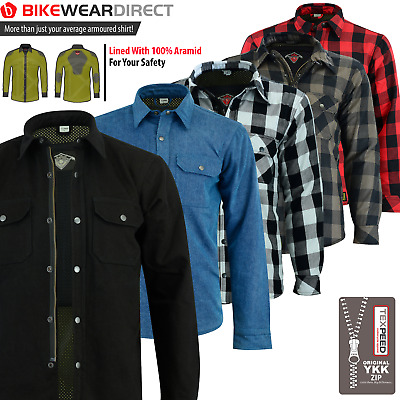 Motorbike Motorcycle Shirt [Made With KEVLAR] CE Armoured Lumberjack Reinforced