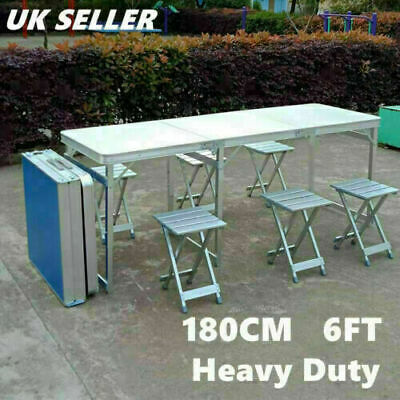 6FT Heavy Duty Portable Folding Trestle Table Camping Garden Party Large Desk UK