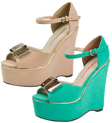 db557632de2 DOLCIS STRAPPY METAL Bow Platforms Peeptoe Wedges Womens Ladies Shoes  Sandals