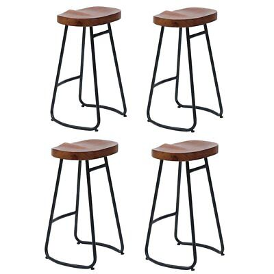 1/2/4x Vintage Industrial Bar Stools Chair Retro Kitchen Counter Wooden Seat SP