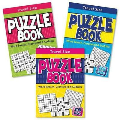 Travel Size Puzzle Book Adult 208 Page Sudoku Crossword Word Search Puzzles Book
