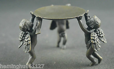 Chinese old copper handwork carved lucky 3 angel unique candlestick