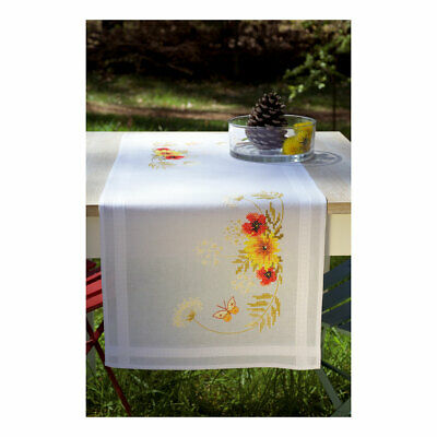 Vervaco Embroidery Kit Table Runner | Sunflowers/Poppies on White | 40 x 100cm