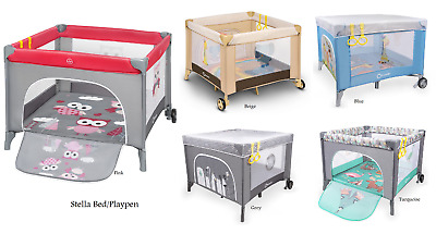 New Baby Bed Playpen Stella Portable Foldable Colourful Printing Side Entrance