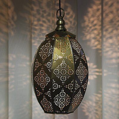 """Decorative Moroccan Hanging Ceiling Oval Lamp Metal Brass Antique Finish 14"""""""