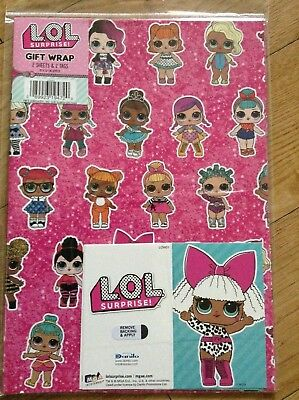 Lol Birthday Wrapping Paper Inc 2 Sheets Tags