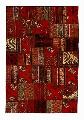 Antique Patchwork Handmade Traditional Wool Oriental Rug 237 cm x 176cm