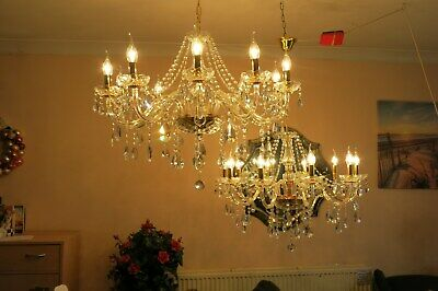 a PAIR of Gorgeous Large elegant French style glass & crystal chandeliers