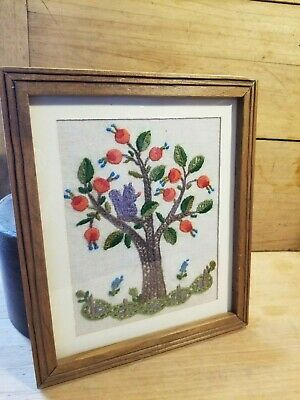 Antique Vintage 1960's Framed Crewel Stitch Artwork Signed- Mary Dulton
