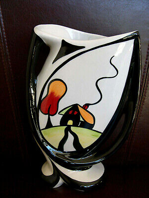 Lorna Bailey Vase Hillside Cottage Abstract Twin Handled Art Deco Unusual Signed