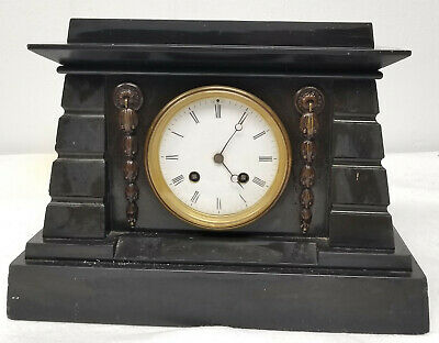 Antique Marble Slate Egyptian Revival Style Mantle Clock Jacobs and Lucas