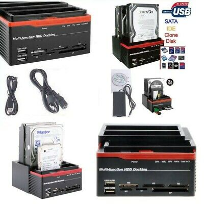 Docking Station Triplo 3 Hard Disk Hdd Usb 2.0 Multifunzione Card Sata Ide S-Ata