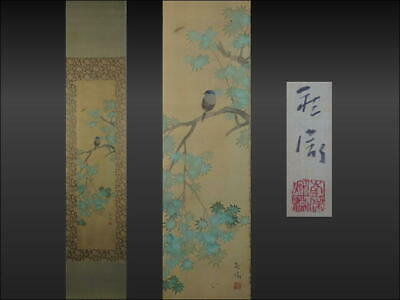 HANGING SCROLL JAPANESE PAINTING JAPAN BIRD PLANT VINTAGE ANTIQUE PICTURE 813i