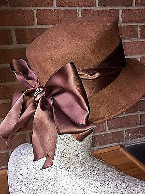 Eric Javits Felted Wool Hat Bow Back 100% Wool Chestnut Brown One Size Fits  Most b9efd8ea902a