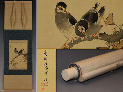 HANGING SCROLL JAPANESE PAINTING JAPAN BIRD PLANT VINTAGE ANTIQUE ORIGINAL 815i