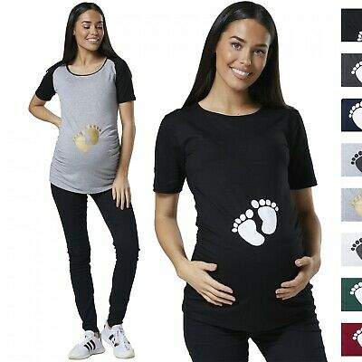 Happy Mama Women's Maternity Baby Feet Printed T-Shirt Footprints Belly Top 090p