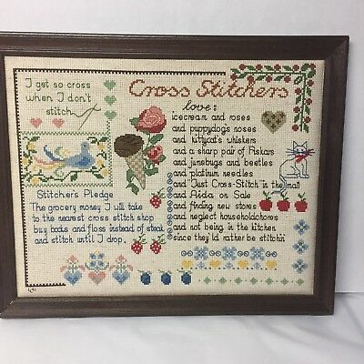 Completed Cross Stitch Stitchers Love Pledge 15.5 x12.5 Vintage