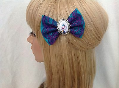 Ursula hair bow clip rockabilly pin up psychobilly lace ariel little mermaid