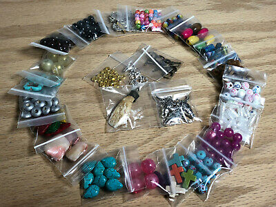 Large Lot Of Assorted Beads Charms & Findings Jewelry Supplies 25 Bags #A12