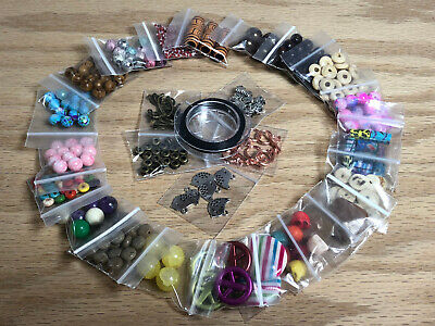 Large Lot Of Assorted Beads Charms & Bead Wire Jewelry Supplies 25 Bags #A13