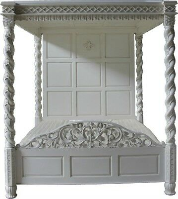 """4'6"""" Double Four Poster Bed Antique White Twisted Columns Full Ceiling Canopy"""