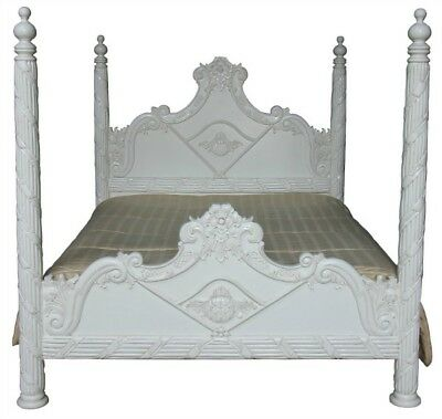 "4'6"" Double Size Four Poster Bed White Carved Mahogany Pillars Like Columns"